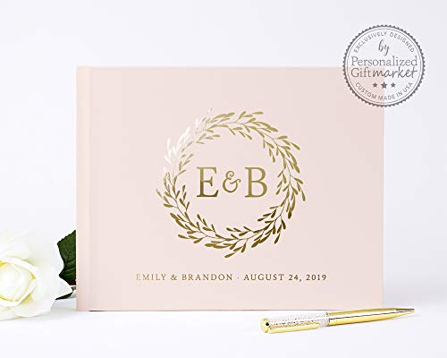 (Blush Pink Wedding Guest Book Personalized Monogram Guestbook, Wedding Sign-in Registry Book for Signatures and Wishes - Hardcover (10x8 inches))