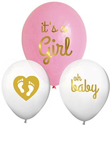 It's A Girl Gold Baby Shower Balloons Decorations with Heart and Footprints (Set of 3) (Baby Shower Balloon Decorations)