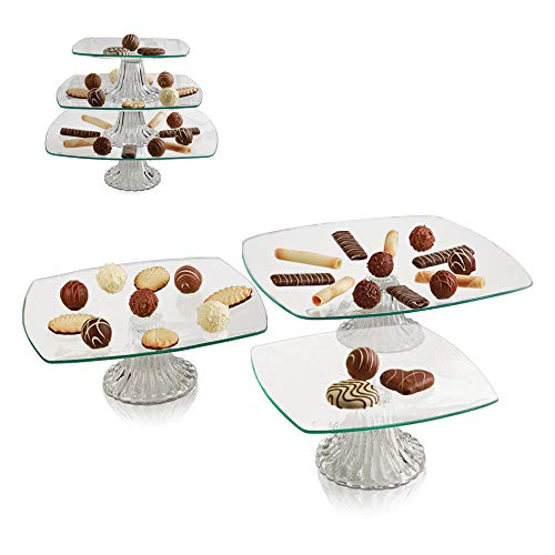 3 Tier Server - Tiered Glass Serving Stand Square Cake Plates - Food Display Platter for Party and Event, Best for Appetizers, Snacks and Desserts