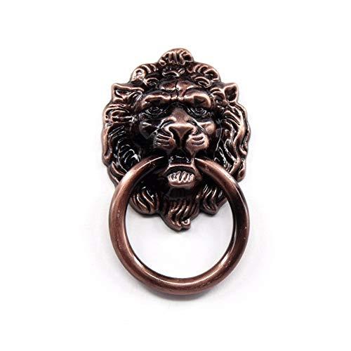 Head Brass Knob Small Lion (Kasuki 6Pcs Antique Brass Lion Head Knob Furniture Door Cabinet Dresser Drawer Drop Ring Pull Handle)