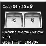 Carysil Stainless Steel Elegance 2.0B-WDB Sink (864x508 mm, Black)