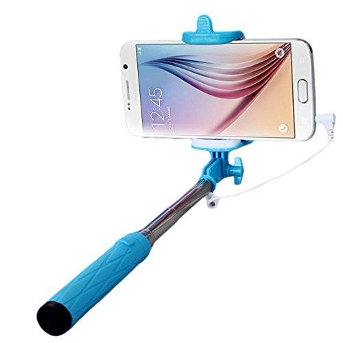 Fulltime® Compact Feder-Größe leicht gewichtet rostfreiem Selfie-Stange für iPhone 6/S/Plus Teleskop Erweiterbar Pole Handheld Einbeinstativ mit Telefon-Clip und Auslöser für Apple/Samsung/LG/HTC/XIAO Blau