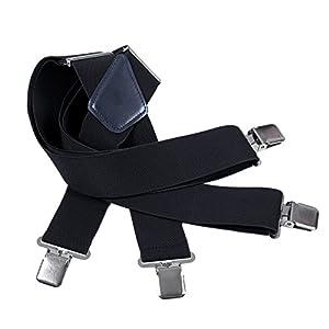 Mens Utility Suspenders X Shape – Wide 2″ Solid Straight Clip Suspender