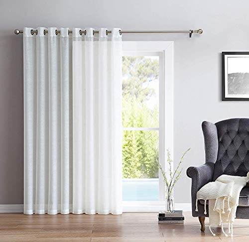 HLC.ME One Panel Extra Wide Sheer Voile Patio Door Grommet Curtain Panel for Sliding Doors (Ivory) - 100