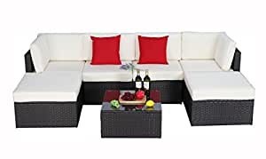 Do4U 7pcs Outdoor Patio Garden Rattan Wicker Sofa Set Sectional Furniture Set (6901-Exp)