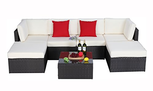 Do4U 7pcs Outdoor Patio Garden Rattan Wicker Sofa Set Sectional Furniture Set (6901-Exp) (Under Sectional 1000 Outdoor)