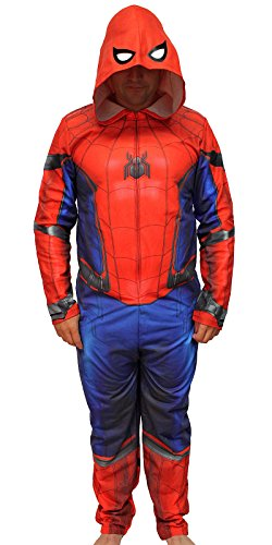 Ultimate Spiderman Suits (Marvel The Amazing Spider-Man Adult Hooded Costume Union Suit (Large))