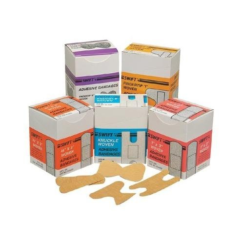 """SWIFT FIRST-AID Adhesive Bandages - fingertip """"t"""" woven 4..."""