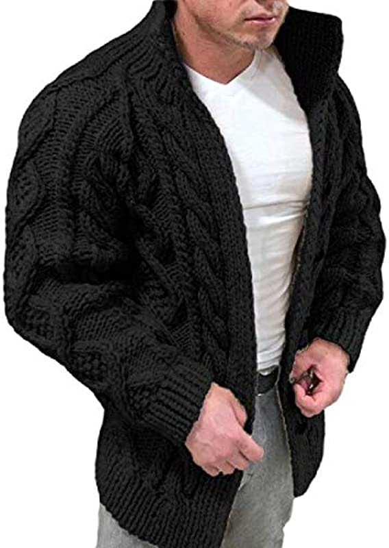 SOWTKSL Men Fashion Solid Color Long Sleeve Knitted Knot Button Sweater Cardigan T Shirts: Odzież