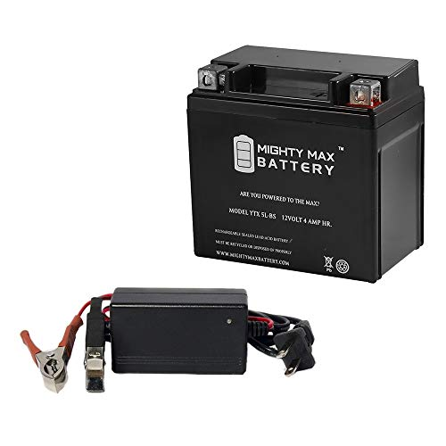 Mighty Max Battery YTX5L-BS Battery Replaces Keeway Hurricane 50 08 + 12V 1Amp Charger Brand Product ()