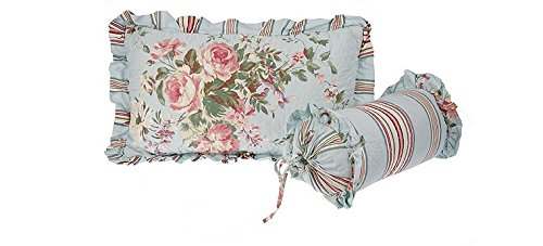 2 Piece Accent Floral and Striped - Neck Pillow Roll Accent