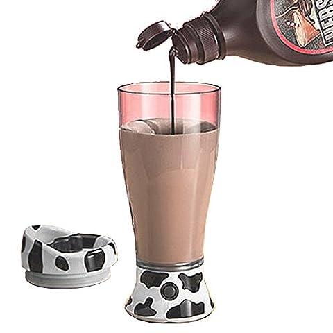 Oak-Pine Cute and Portable Skinny Moo Self Stirring Mug Ultimate Chocolate Milk Mixer Coffee Juice Mixer - Moo Mixer
