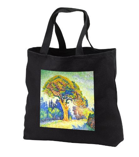 Florene - Impressionism - image of paul signac painting the pine tree at st tropez - Tote Bags - Black Tote Bag JUMBO 20w x 15h x 5d (tb_174521_3)