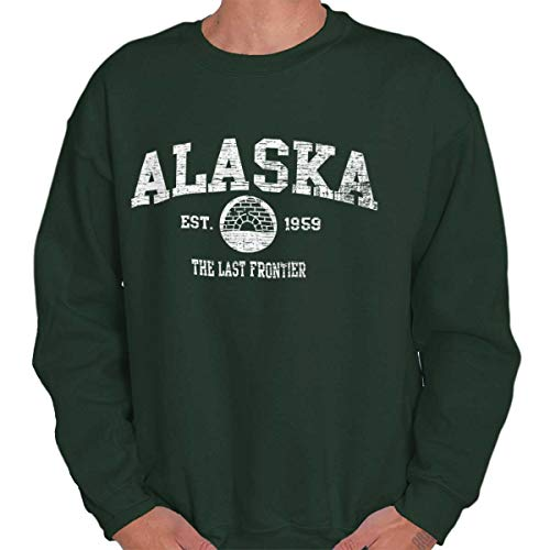 Alaska State Vintage EST Retro Hometown Fleece Sweatshirt Forest Green