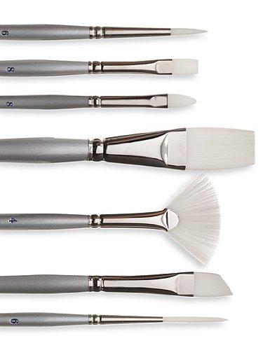 Silver Brush 1506-038 Silverwhite Long Handle White Taklon Brush, Angular, 3/8-Inch
