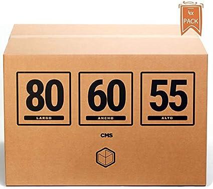 TeleCajas®   Cajas de Cartón Gigantes   Doble Pared REFORZADA   80x60x55 cms   Pack de 4 uds (4x): Amazon.es: Oficina y papelería