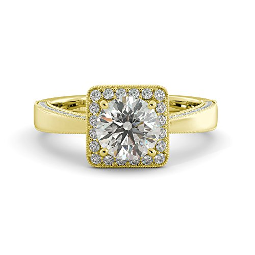 14k Cathedral Solitaire - Engagement Ring Round Cut Charles & Colvard Forever One Moissanite & Natural Diamond Solitaire Cathedral Solid 14k White Rose Yellow Gold 1.75 tcw