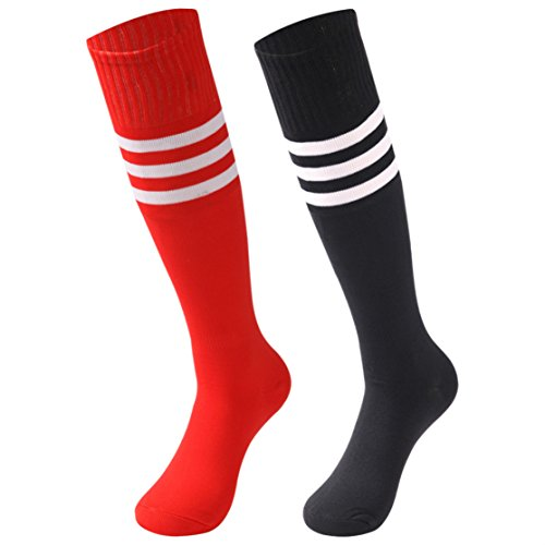 (saounisi Women Tube Socks,2 Pairs Football Stockings Knee High Stripe Soccer Team Long Socks Size 9-13 Black/Red)
