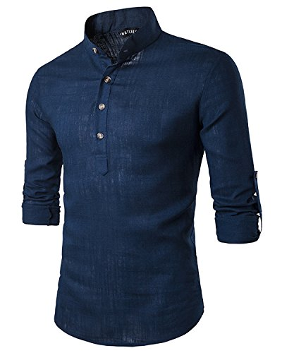 JoJoJoy Men's Casual Sexy Henley Neck Linen Roll-up Long Sleeve Work Shirts Navy Size - Trendy Hipster