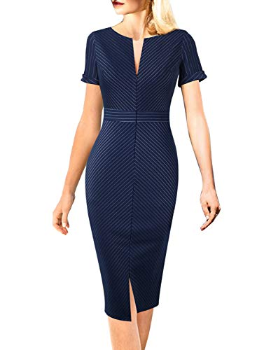 VFSHOW Womens Blue and White Pinstriped Elegant Zipper Front Work Business Office Party Sheath Dress 2823 BLU XXL