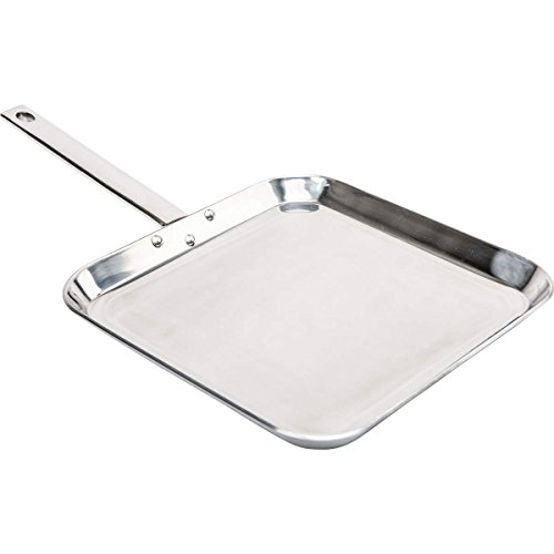 CHEFS KTGRIDTp T304 Stainless-Steel 11-Inch Square Griddle, Ideal for Grilling and Presenting Your Favorite Creations,
