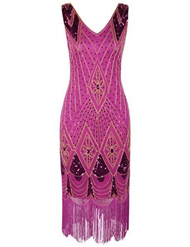 PrettyGuide Women 1920s Dress Gatsby Cocktail Sequin Art Deco Flapper Dress L Rose]()
