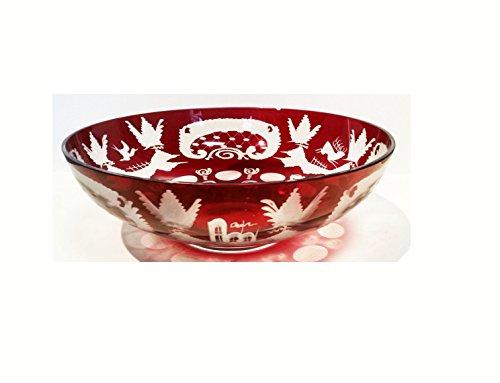 Bowl Antique Round Hand Cut Bohemian Glass Bowl Shell Ruby Red Mouth Blown Original Egermann Crystal Glass Table Decoration Height Approx11 Cm Diameter Aprrox. 25 Cm Oberstdorfer Glashütte