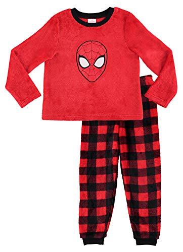 Spider-Man Boys Sleepwear | Fleece Kids 2-Piece Pajama Set - 4 (Spider Flannel Man)