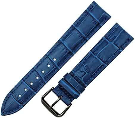 2049aadc653 RECHERE Alligator Crocodile Grain Leather Watch Band Strap Black Pin Buckle  Black Brown Blue Red White