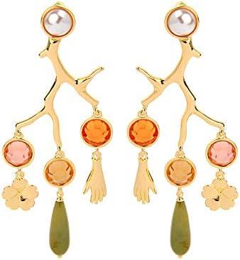 N/N Aretes Mujer Pendientes De Gota De Rama De Coral De Color Dorado para Mujer Resina De Acrílico Flor De La Mano Pendiente Pendiente