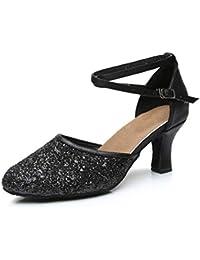 Womens Latin Dance Shoes Heeled Ballroom Salsa Tango Party Sequin Dance Shoes