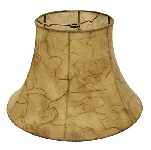 Slant Transitional Bell Faux Leather Softback Lampshade with Washer Fitter, 424-Antique Parchment, (SI51617) ()