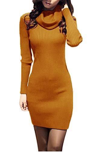 v28 Women Cowl Neck Knit Stretchable Elasticity Long Sleeve Slim Fit Sweater Dress (2X-Large, Mustard)