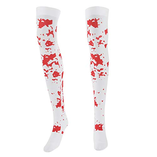 IEFIEL 1 Pair Women Bloody Thigh High Socks Over Knee Skeleton Stockings Halloween Party Cosplay Leggings White One Size
