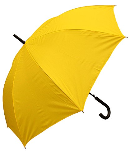 RainStoppers W032TH Auto Open European Hook Handle Arc Umbrella, Yellow, -