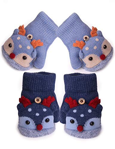 2Pairs Toddler Girls Winter Thermal Gloves with Flip Top for Cold Weather Gift