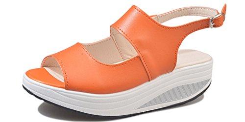 per con Hishoes Scarpe Mocassini Scarpe Sandali con Pelle Sandali Sportive Outdoor Comfort Estivi Camminare Infradito Donna Zeppa Casual Arancia 68q6r