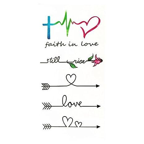 a656b877615a6 Amazon.com : Set of 2 Waterproof Temporary Fake Tattoo Stickers Watercolor  Love Faith Black Arrow : Beauty