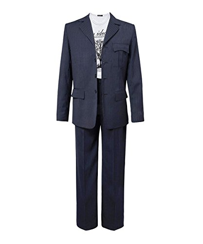 Adults 13th 12th 11th Doctor Series Coat Costume for Halloween (Men L, 10th Blue Suit)]()