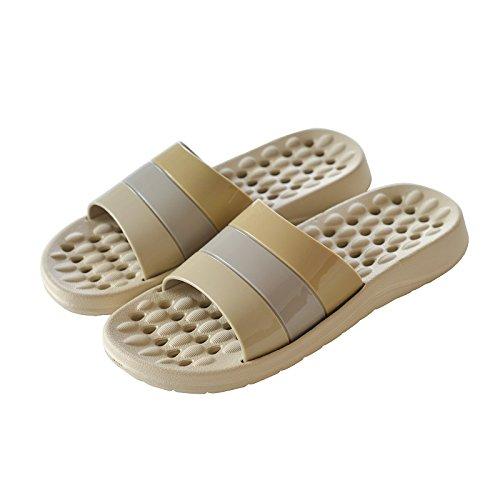 Khaki 41 antiskid bathroom slippers 42 Indoor striped Ixf0HqRg