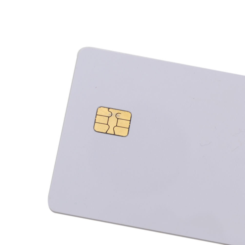 100 ISO PVC IC With SLE4442 Chip Blank Smart Card Contact IC Card Safe White No Printing by KINGONE