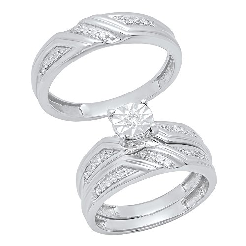 Dazzlingrock Collection 0.25 Carat (ctw) Round Diamond Men's & Women's Engagement Ring Trio Set 1/4 CT, Sterling Silver ()