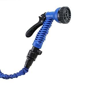 AGPtek Flexible hogar manguera de jardín de riego de goma 3x retráctil coche tubo de lavado con modelos de multiplicar pistola boquilla