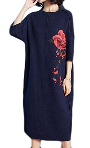 Long Pattern1 Size Comfy Shift Print Embroidery Floral Dress Knit Womens Plus nx4CO