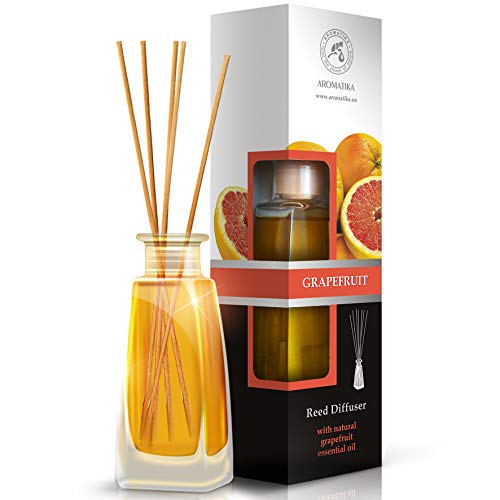 - Grapefruit Diffuser with grapefruit oil, 100ml, Scented Reed Diffuser Grapefruit - 0% Alcohol, Diffuser Gift Set with 8sticks - best for Aromatherapy, Home, Reed diffuser Grapefruit by AROMATIKA