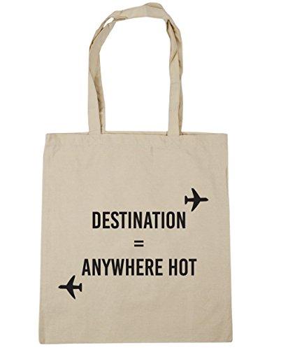 HippoWarehouse destino cualquier lugar caliente bolsa de la compra bolsa de playa 42cm x38cm, 10litros Natural