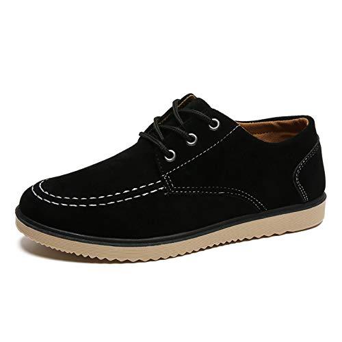39 Suela Blanda Hombres Caqui para Color tamaño EU marrón Negro Suela Lisa Cordones de clásicos Negro Zapatos Qiusa Derby con XYRfvgHg