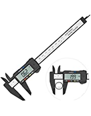 Electronic Digital Caliper Vernier Calipers with Large LCD Screen Inch/MM Conversion Auto Off Featured Measuring Tool 0-6 Inch/150 mm Carbon Fiber with 1 Spare Battery by Lakatay