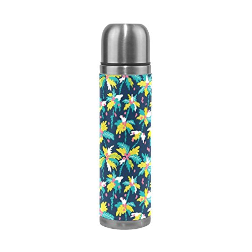 GoldenDesign Palm Tree Water Bottle Insulated Vacuum Stainless Steel Travel Thermal Flask with Leather Cover 17 Oz (Flask Gsi Leather)