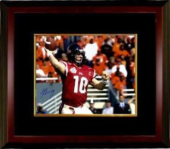 Eli Manning signed Ole Miss Rebels 16x20 Photo Custom Framing (2003 Cotton Bowl-red jersey)- Hologram - Steiner Sports Certified ()